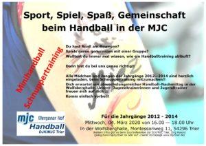 Minihandball Schnuppertraining